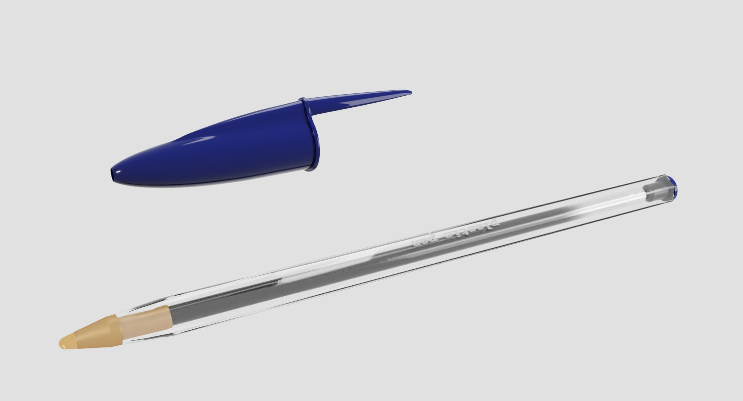3D transparent plastic pen model