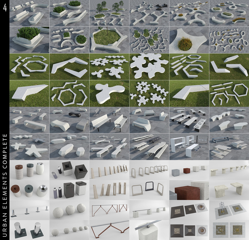 urban elements 3D model