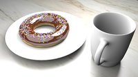 Icing Donut with Sprinkles & Coffee Cup