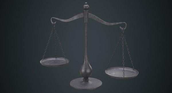 3D model balance scale 1b