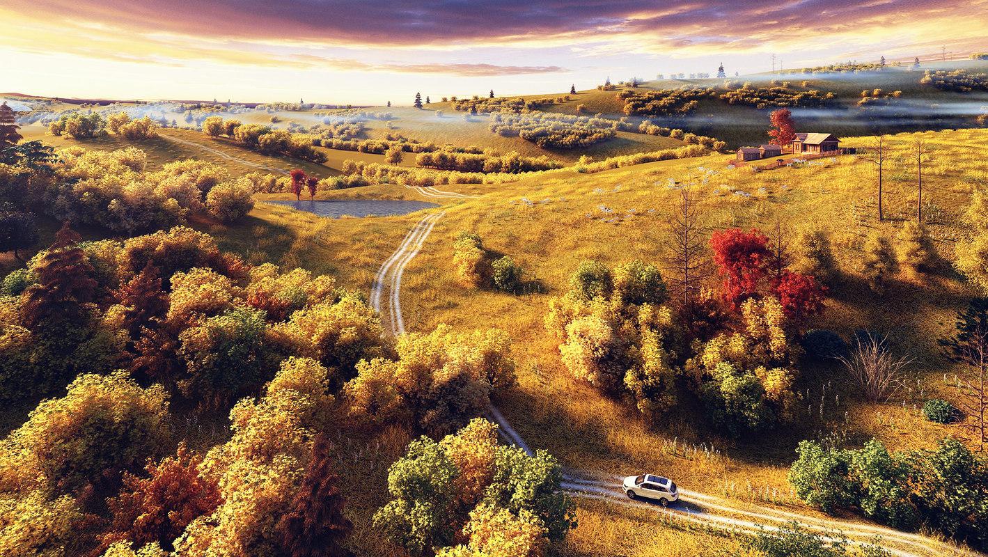 3D autumngrassland carflock model