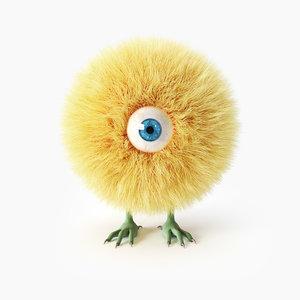 chicken hair fur 3D model