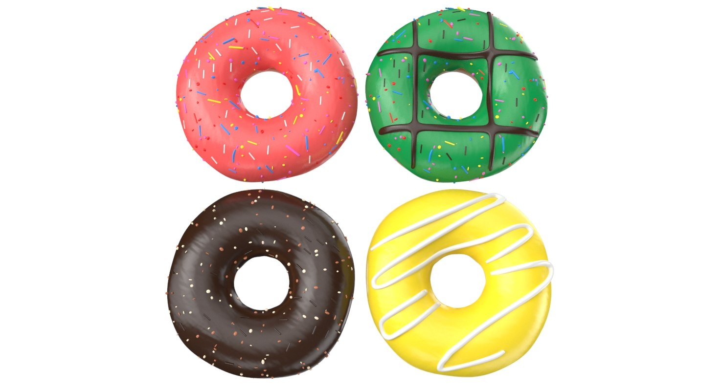donuts modeled 3D