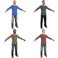 pack casual man 3D model