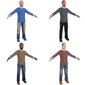 pack casual man 3D model