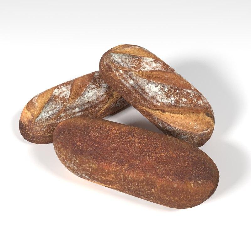 rounded loaf 3D model