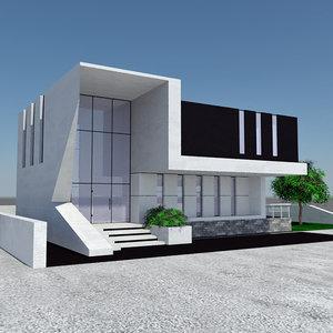 - modern beach house 3D model