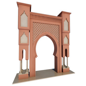 traditional moroccan door fes 3D model