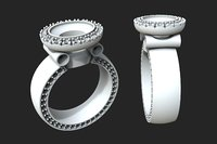 gold ring big stone 3D model
