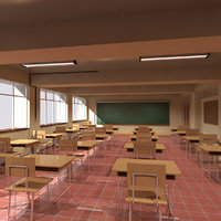 highschool japanese classroom 3D model