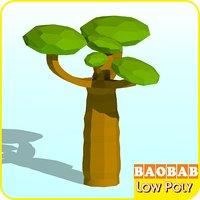 3D model baobab tree cartoon