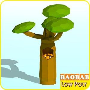 3D baobab tree cartoon