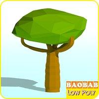 3D baobab tree cartoon model