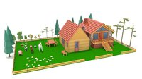 3D cartoons houses animals low-poly model
