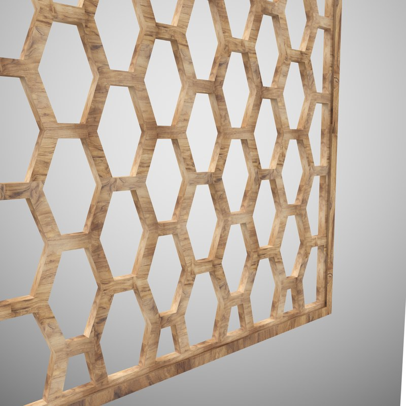 3D wooden partition jali model