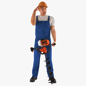 3D builder worker hole driller model