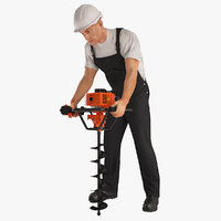 construction worker earth auger 3D model