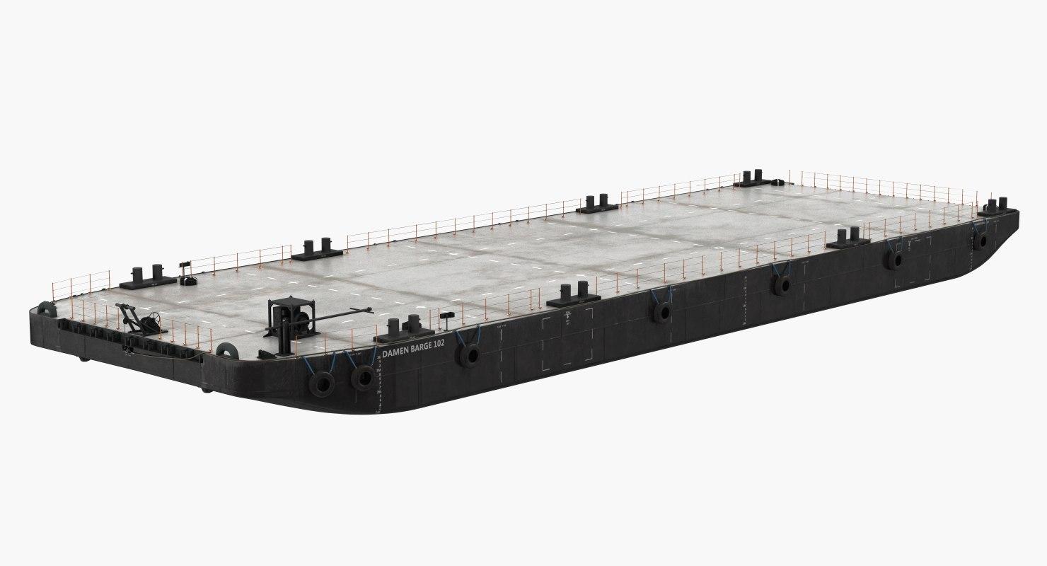 3D pontoon barge model