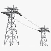 Gondola Lift Towers with Cables 3D Model
