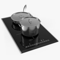 Induction Hob with Stainless Tableware 3D Model