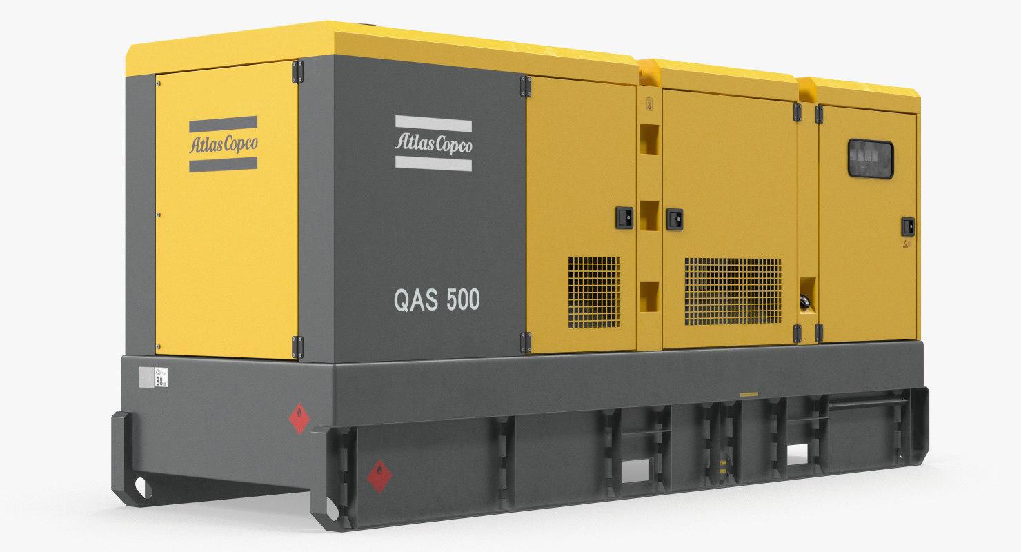 industrial diesel generator atlas 3D model