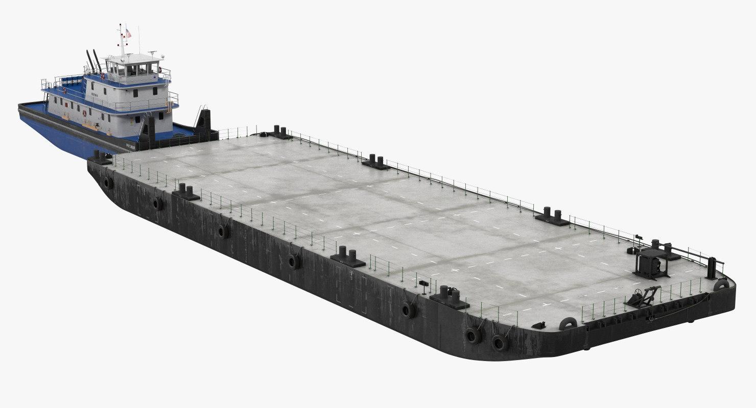 push boat ship pontoon 3D model