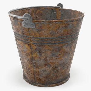 3D rusty metal pail