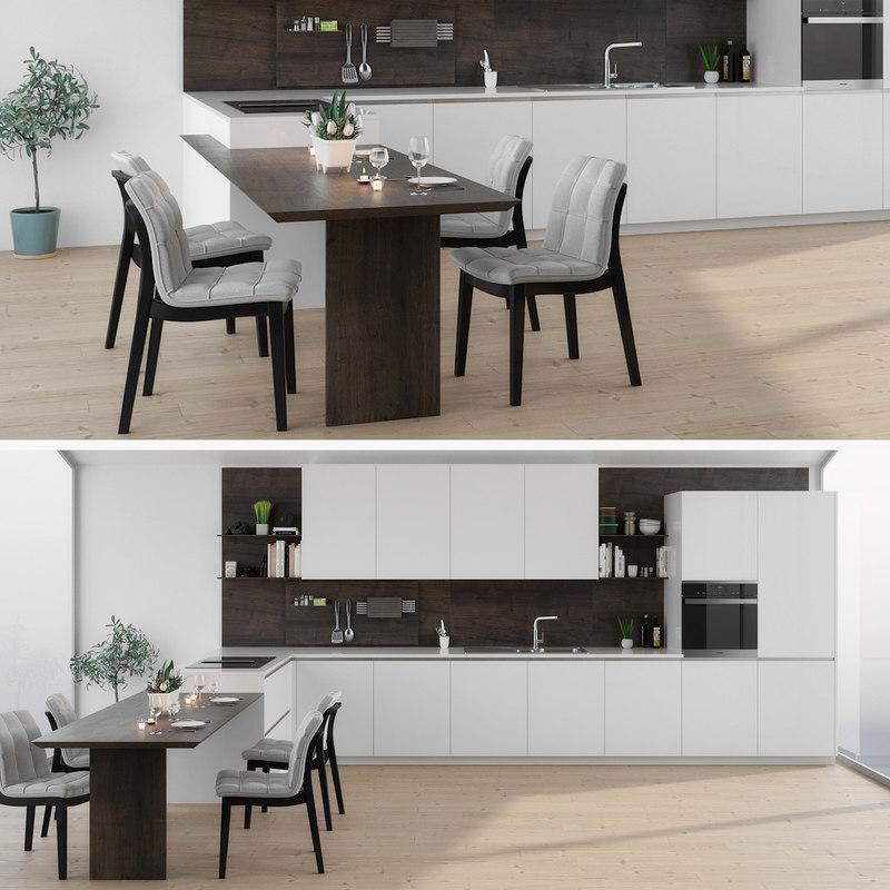 kitchen interior chair 3D