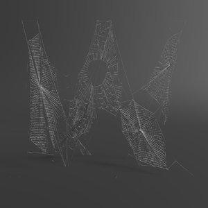 web letter w 3D model