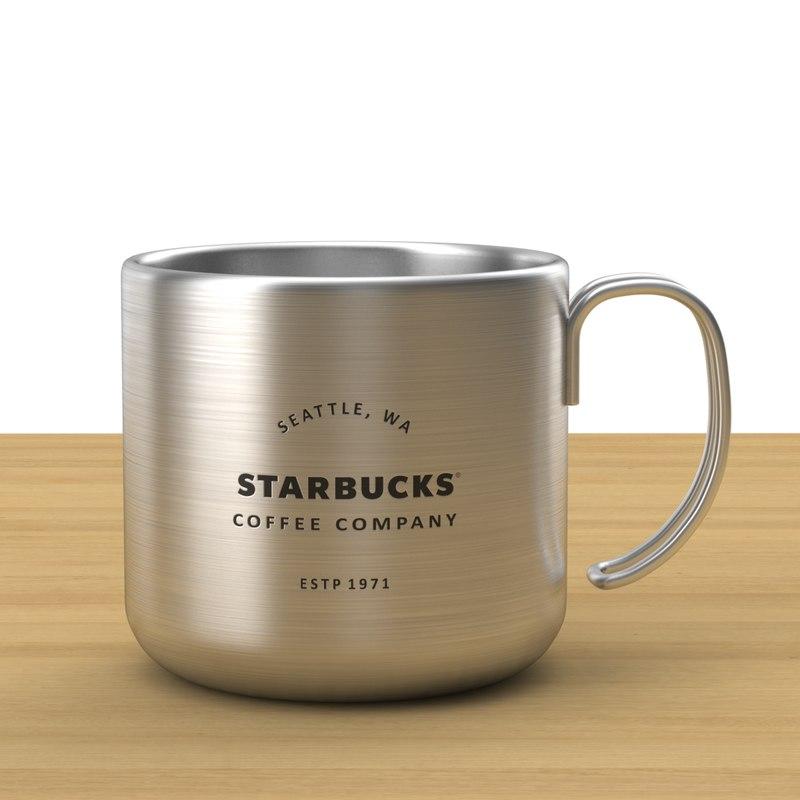 starbucks mug silver 3D