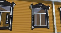 3D window house architectural wooden