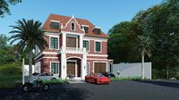 3D exterior scene nurse house skp