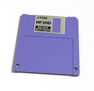 3D floppy disk 1 44mb model