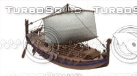 3D ancient phoenician ship