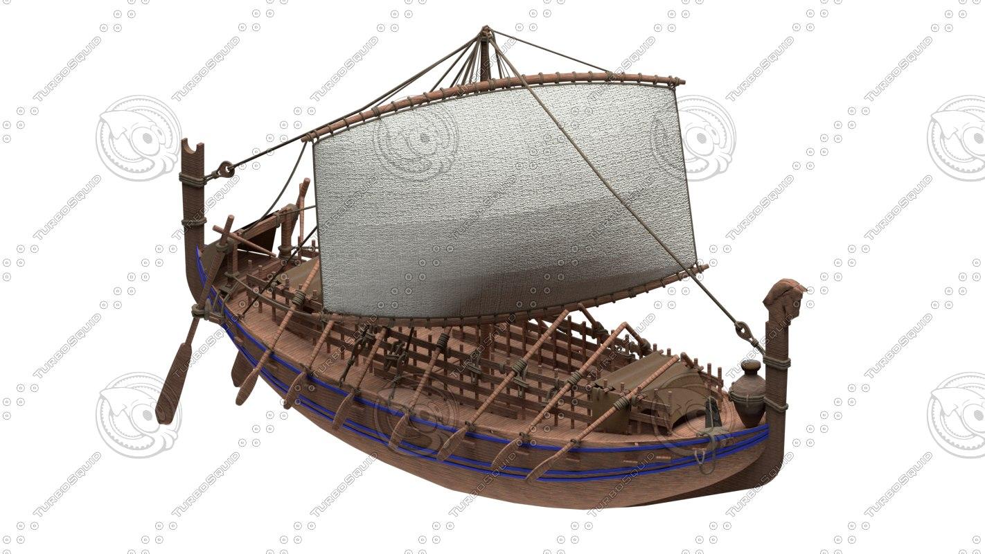 3D ancient phoenician ship
