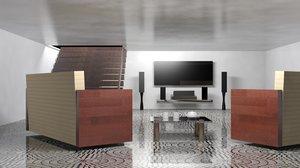 3D model drawing room tv sofa