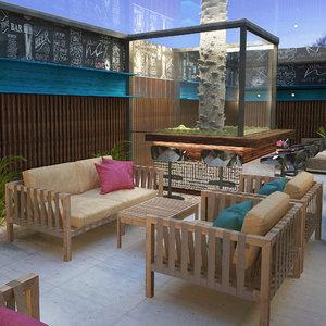 3D model scene restaurant bar lounge