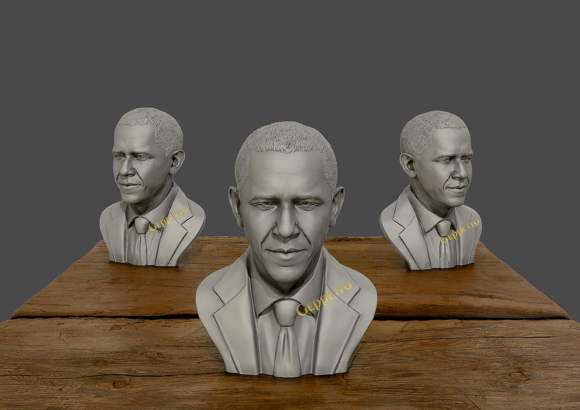 sculpture barack obama 3D