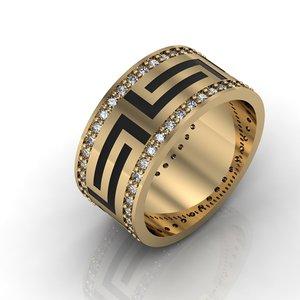 3D greeck wedding ring gems