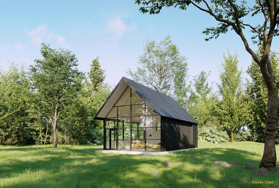 forest hut complete scene model