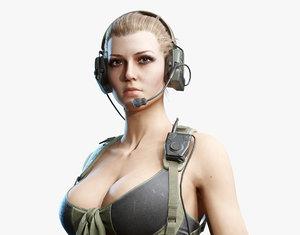 3D model army girl