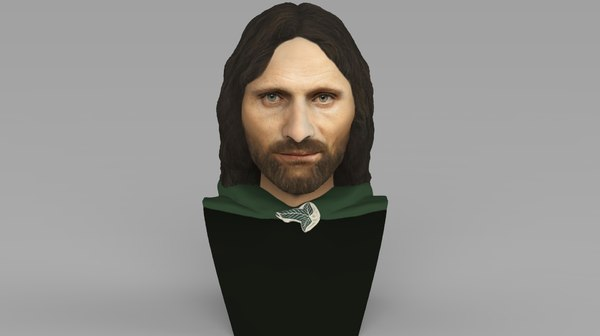 3D aragorn lord rings bust