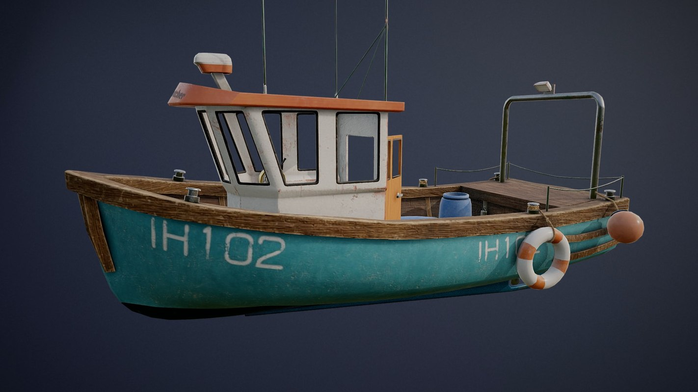 3D fishing ship interior asset