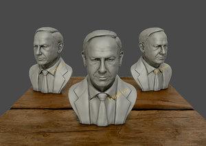 3D benjamin netanyahu sculpture model