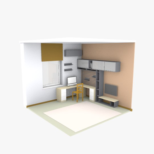 3D model scene room cartoon