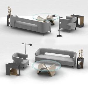 3D furniture set holly hunt model