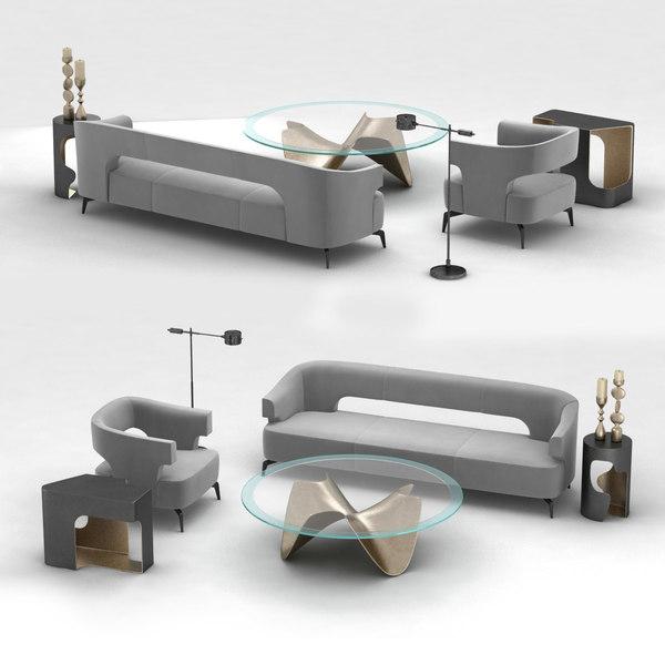 3d Furniture Set Holly Hunt Model, Holly Hunt Furniture