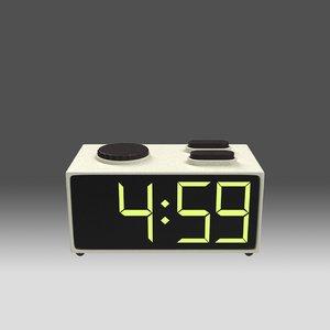 3D stylized retro radio alarm clock model