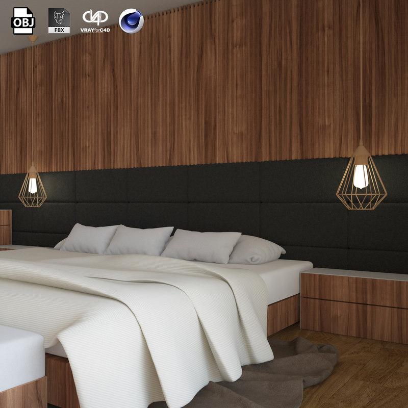 modern bedroom design scene interior 3D model