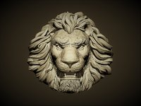aggressive lion head 3D
